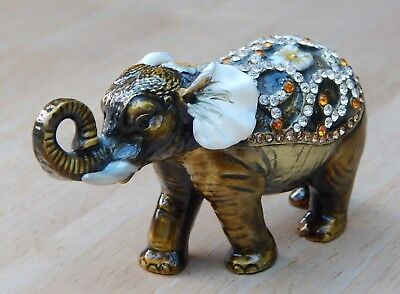 Treasured Trinkets by Juliana ELEPHANT WITH CURLED TRUNK Hinged Keepsake Box NEW