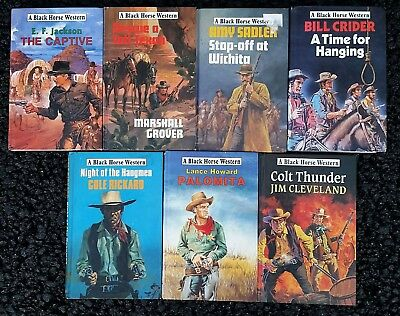Job lot 7 x Black Horse Cowboy Western Hardback Books ex lib good cond Lot 12