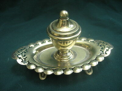 Vintage / Antique EPNS Silver Plate Inkwell with Stand & Liner