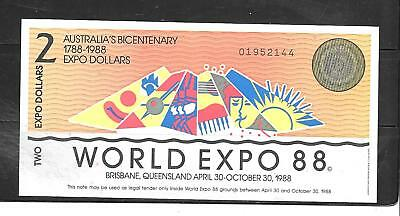 Australia Expo 1988 Au-Unc  $2 Dollar Banknote Paper Money Currency Note