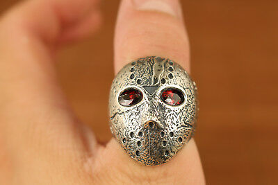 Fine 925 Silver 20g Chinese Old Handmade Carved Mask inlay jade Statue Ring