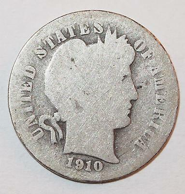1910 BARBER LIBERTY HEAD Dime 10 Cents Ten Cent 90% Silver Coin