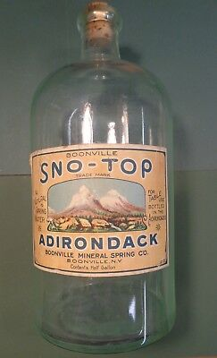 """Rare Antique Adirondack Spring Water Bottle Boonville NY,Large 10"""" w Paper Label"""