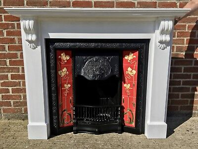 Victorian Style Tiled Cast Iron Fireplace & Solid Wooden Painted Surround
