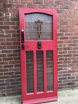 1930s External Door With Original Stained Glass.