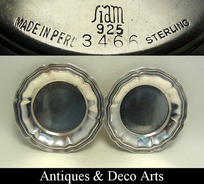 2 Peruvian Stirling Silver Coasters Trays (D: 8.5cm)