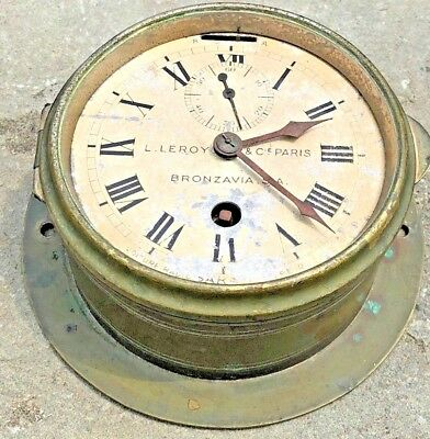 1910 Era RARE L. LEROY & Cie, Paris BRONZAVIA BRASS SHIPS CLOCK - WORKING