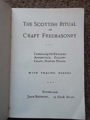 The SCOTTISH RITUAL of CRAFT FREEMASONRY printed Edinburgh - Freemasons