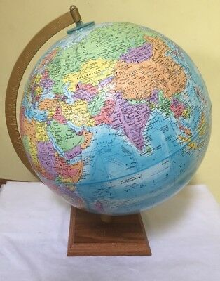 "Vintage 12"" GlobeMaster World Globe Raised Relief + Metal Axis + Wood Stand EXC"