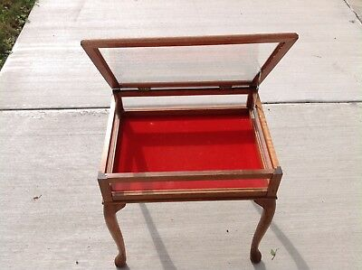 Vintage Display Show Case End Table Wood Glass