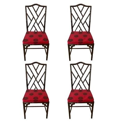 Mid Century Four Matching Chinese Chippendale Rosewood Faux Bamboo Dining Chairs