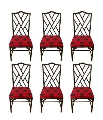 Mid Century Six Matching Chinese Chippendale Rosewood Faux Bamboo Dining Chairs