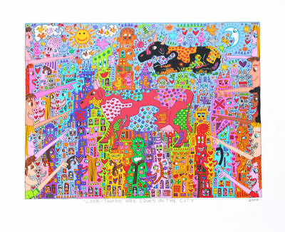 "James Rizzi ""Look there are Cows in the City"" - im Druck betitelt und datiert"