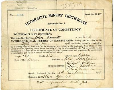 1912 Anthracite Coal Miner Certificate of Competency Carbondale Pennsylvania #4