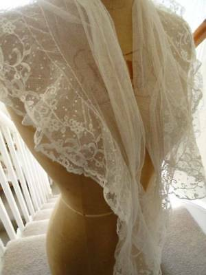 A Beautiful Antique Brussels Lace Double Layer Fichu ~ Capelet C.1880