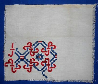 Antique Norwegian Hardanger Embroidered Unfinished Block, 1890's-1920's