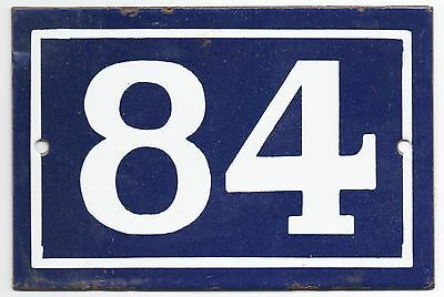 Old blue French house number 84 door gate plate plaque enamel steel metal sign