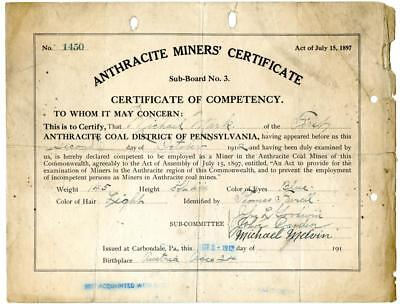 1912 Anthracite Coal Miner Certificate of Competency Carbondale Pennsylvania #5