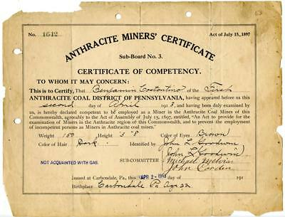 1913 Anthracite Coal Miner Certificate of Competency Carbondale Pennsylvania #2
