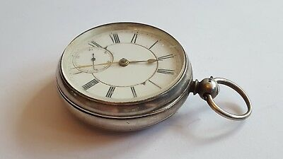 A Victorian Mens Solid Silver Pocket Watch London 1875 good working condition