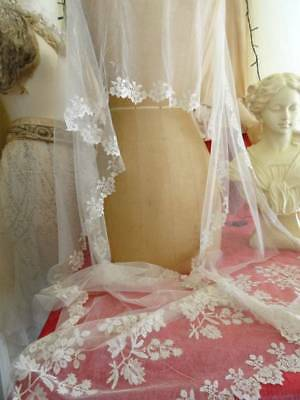 A Delightful Antique Early Brussels Lace Wedding Shawl C.1870