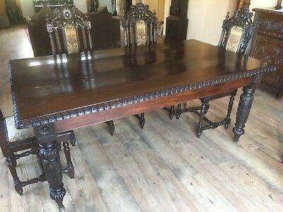 Victorian antique solid oak dining table