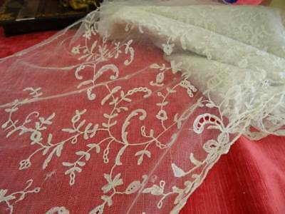 A Stunning Huge Antique Brussels Lace Flounce Length C.1880