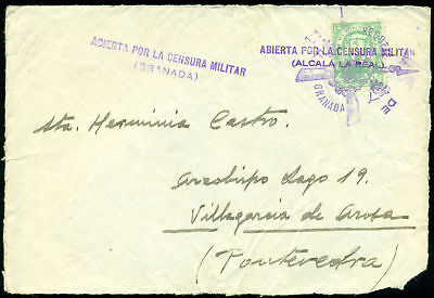 F708 Spain Civil War. Front Cover Censor & Local & Military Postage Alcala Real