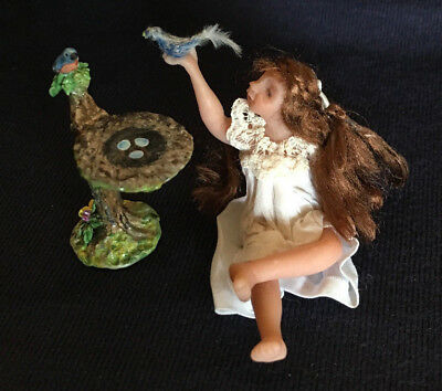 OOAK Miniature Little Girl Doll with Blue Birds by Bonnie Justice - resale