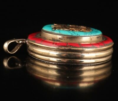 Turquoise pendant photo box old Tibetan style collection exorcise