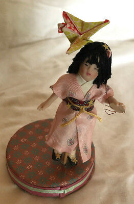 OOAK Miniature Oriental Child Doll by Morena, and Origami Crane