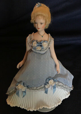 OOAK Miniature Porcelain Lady Doll in Blue - Lovely
