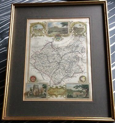Antique Framed Hand Painted Map Of Leicestershire - Thomas Moule C1850