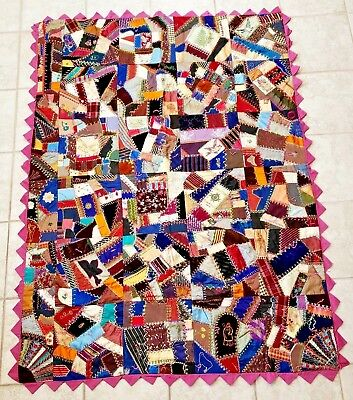 "19th C. Victorian Handmade Crazy Quilt Dated Fabric, 1880s Folk Art 73"" x 54"""