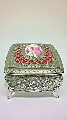 Vintage Silver Tone & Porcelain Trinket Box Made In Japan Red Velvet Lining