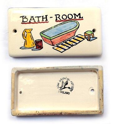 Vintage 1960's TONI RAYMOND BATHROOM DOOR Plaque ceramic sign BATH-ROOM