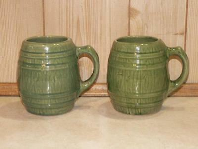 2 Nelson McCoy Sanitary Stoneware Green Barrel Mugs No, 4 in Shield Circa 1926