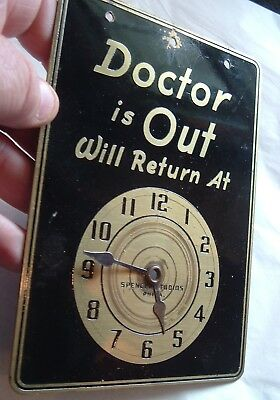 Rare Antique Doctor is out Doctor In Brass Enamel Sign w/ Moving Clock Face