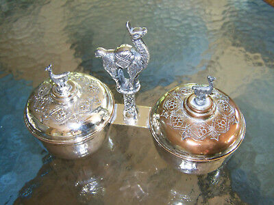 Llama Handled Silver - Covered Double Condiment Dish Set / Sauce Tureen  - Sweet