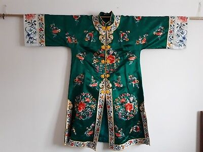 Vintage Chinese Embroidery Forbidden Stitch Emerald Green Silk Long Robe Kimono