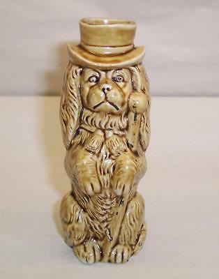 Vintage SPANIEL DOG in Top Hat with Cane BOTTLE/FLASK Treacle Glaze Pottery
