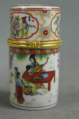 Collectable Handwork Porcelain Paint Belle & Scenery Lucky Special Toothpick Box