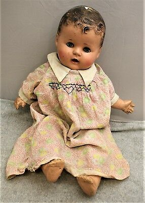 """Vintage Composition 24"""" Baby Doll Open Mouth W/ Teeth And Sleep Eyes / Restore"""