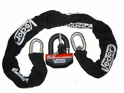 Chain safety lock XENA Vector 120 cm + Padlock SRA scooter motorcycle NEW