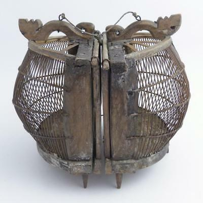 Chinese Vintage Wooden Double Portable Bird Cage