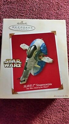 Hallmark Keepsake Ornament Star Wars Attack of the Clones Slave I StarfighterNIB