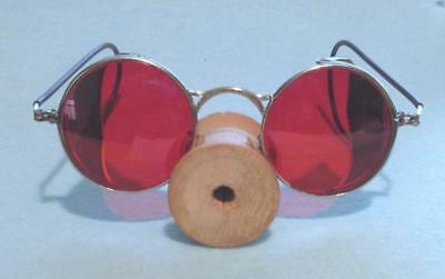 Vintage Wilson Safety Goggles w/ Side Screens and Cherry-Red Lenses - Steampunk