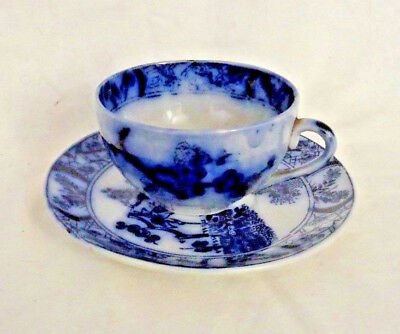 Vintage Flow blue and white Teacup and Saucer Gilman CTA Sacavem Portugal