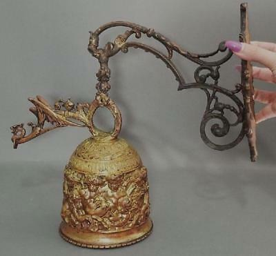Large Antique Victorian Gilded Bronze Call Bell, Gothic Cherubs & Dragon, NR
