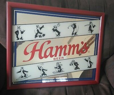 Vintage Hamm's Beer Hamms Bear playing different Sports Sign Mirror HTF Rare